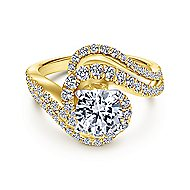 18k Yellow And White Gold Round Bypass Engagement Ring angle 1