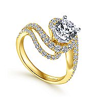 18k Yellow And White Gold Round Bypass Engagement Ring angle 3