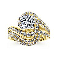 18k Yellow And White Gold Round Bypass Engagement Ring