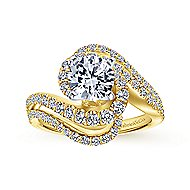 18k Yellow And White Gold Round Bypass Engagement Ring angle 5