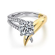 18k Yellow And White Gold Round Split Shank Engagement Ring angle 1