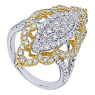 18k Yellow And White Gold Victorian Statement Ladies' Ring