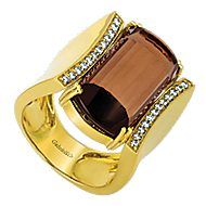 18k Yellow Gold Contemporary Wide Band Ladies' Ring angle 3