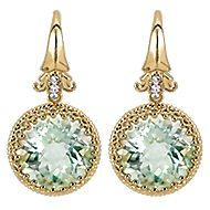 18k Yellow Gold Mediterranean Drop Earrings angle 1