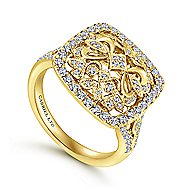 18k Yellow Gold Mediterranean Fashion Ladies' Ring angle 3