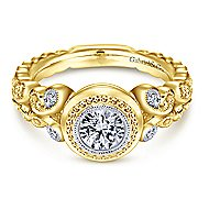 18k Yellow Gold Round Straight Engagement Ring angle 1