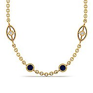 36inch 14K Yellow Gold Diamond & Sapphire Station Necklace angle 1