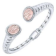 925 Silver & Stainless Steel Pink Quartz Bangle
