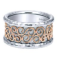 925 Silver And 18k Rose Gold Victorian Wide Band Ladies' Ring angle 1