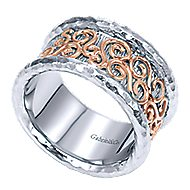 925 Silver And 18k Rose Gold Victorian Wide Band Ladies' Ring angle 3