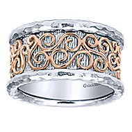 925 Silver And 18k Rose Gold Victorian Wide Band Ladies' Ring angle 4