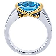 925 Silver And 18k Yellow Gold Color Solitaire Fashion Ladies' Ring angle 2
