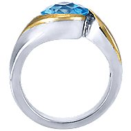 925 Silver And 18k Yellow Gold Contemporary Fashion Ladies' Ring angle 2
