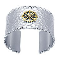 925 Silver And 18k Yellow Gold Goddess Cuff Bangle angle 1