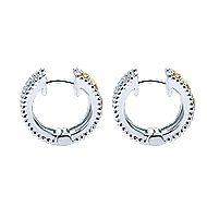 925 Silver And 18k Yellow Gold Huggies Huggie Earrings angle 3