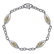 925 Silver And 18k Yellow Gold Infinite Gems Chain Bracelet angle 1