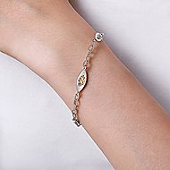 925 Silver And 18k Yellow Gold Infinite Gems Chain Bracelet angle 3