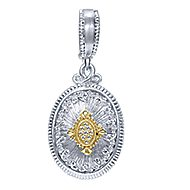 925 Silver And 18k Yellow Gold Roman Charm Pendant angle 1