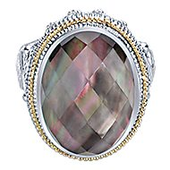 925 Silver And 18k Yellow Gold Roman Fashion Ladies' Ring angle 1