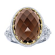 925 Silver And 18k Yellow Gold Roman Fashion Ladies' Ring angle 5