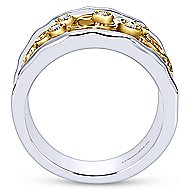 925 Silver And 18k Yellow Gold Souviens Wide Band Ladies' Ring angle 2
