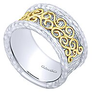 925 Silver And 18k Yellow Gold Souviens Wide Band Ladies' Ring