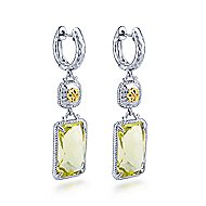 925 Silver And 18k Yellow Gold Victorian Drop Earrings