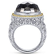 925 Silver And 18k Yellow Gold Victorian Fashion Ladies' Ring angle 2