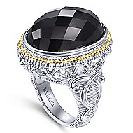 925 Silver And 18k Yellow Gold Victorian Fashion Ladies' Ring angle 3