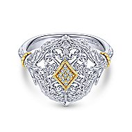 925 Silver And 18k Yellow Gold Victorian Fashion Ladies' Ring