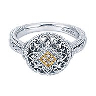 925 Silver And 18k Yellow Gold Victorian Fashion Ladies' Ring angle 1