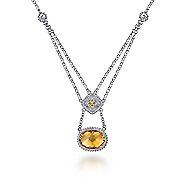 925 Silver And 18k Yellow Gold Victorian Fashion Necklace
