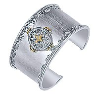 925 Silver And 18k Yellow Gold Victorian Wide Cuff Bangle angle 2