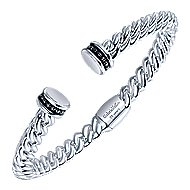 925 Silver And Stainless Steel Hampton Hinged Cuff Bangle angle 2