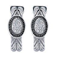 925 Silver And Stainless Steel Huggies Huggie Earrings angle 1