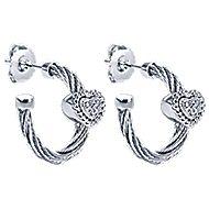 925 Silver And Stainless Steel Huggies Huggie Earrings angle 2