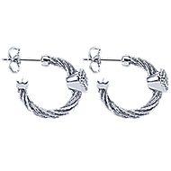 925 Silver And Stainless Steel Huggies Huggie Earrings angle 3