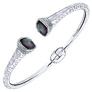 925 Silver And Stainless Steel Souviens Hinged Cuff Bangle angle 2