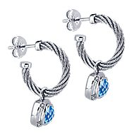 925 Silver And Stainless Steel Steel My Heart Drop Earrings angle 2
