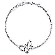 925 Silver Butterfly Chain Bracelet angle 1