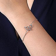 925 Silver Butterfly Chain Bracelet angle 3
