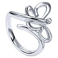 925 Silver Butterfly Fashion Ladies' Ring angle 3