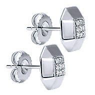 925 Silver Contemporary Stud Earrings angle 2