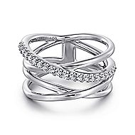 925 Silver Contemporary Twisted Ladies' Ring angle 1