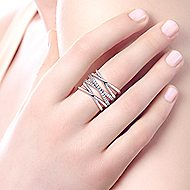925 Silver Contemporary Twisted Ladies' Ring angle 5