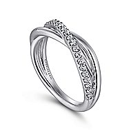 925 Silver Contemporary Twisted Ladies' Ring angle 3