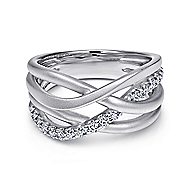 925 Silver Contemporary Wide Band Ladies' Ring angle 1