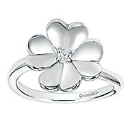 925 Silver Floral Fashion Ladies' Ring angle 4