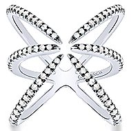 925 Silver Front Row Fashion Ladies' Ring angle 4