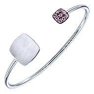 925 Silver Pink Zircon Engravable Bangle angle 2